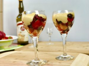 Zabaglione and mixed fruit